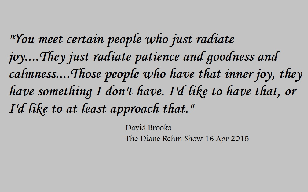 """You meet certain people who just radiate joy....They just radiate patience, and goodness, and calmness....Those people who have that inner joy, they have something I don't have. I'd like to thave that . or I'd like to at least approach that.""  - David Brooks - The Diane Rehm Show 16 April 2015"